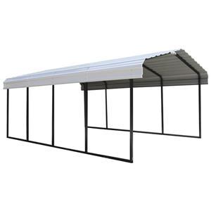 Arrow Steel Carport - 12' x 20' x 7' - Black/Eggshell