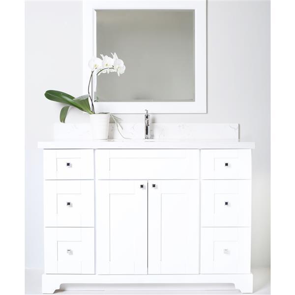 """Meuble-lavabo/dessus en quartz «Bold Damian», 42"""", blanc"""