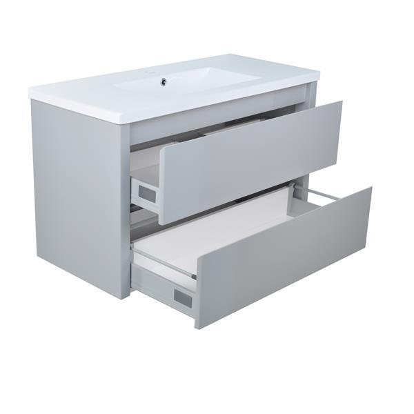 Lukx Modo David Bathroom Vanity - 40-in - Grey/Chrome
