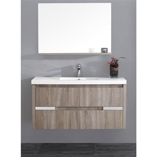Lukx Modo David Bathroom Mirror with Shelf - 48-in - Urban