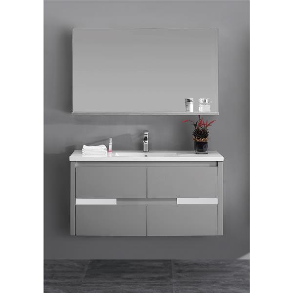Lukx Modo David Bathroom Mirror with Shelf - 48-in - Grey ...
