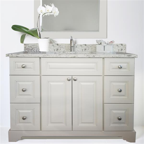 Lukx Bold Damian Vanity Cabinet Base - 48-in - Antique White