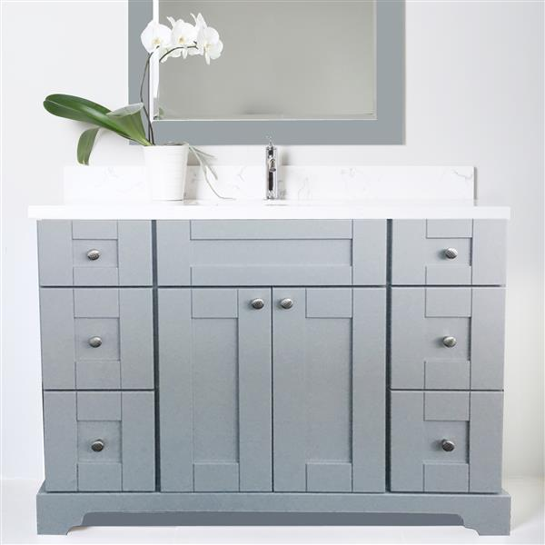 Lukx Bold Damian Vanity with Quartz Top - 42-in - Grey