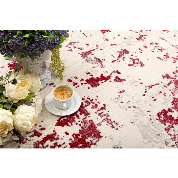 Tapis moderne Vogue de Rug Branch , 2 pi 8 po x 4 pi 8 po, rouge/Blanc
