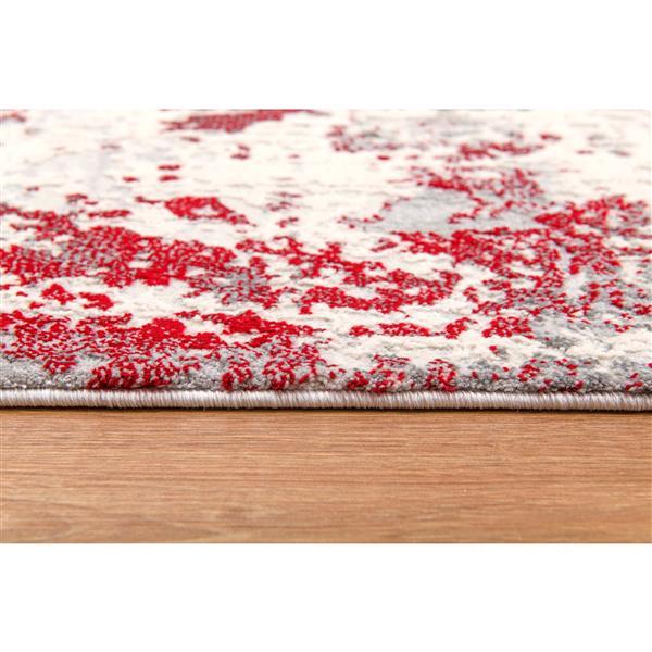Tapis moderne Vogue de Rug Branch , 7 pi 9 po x 10 pi 9 po, rouge/Blanc