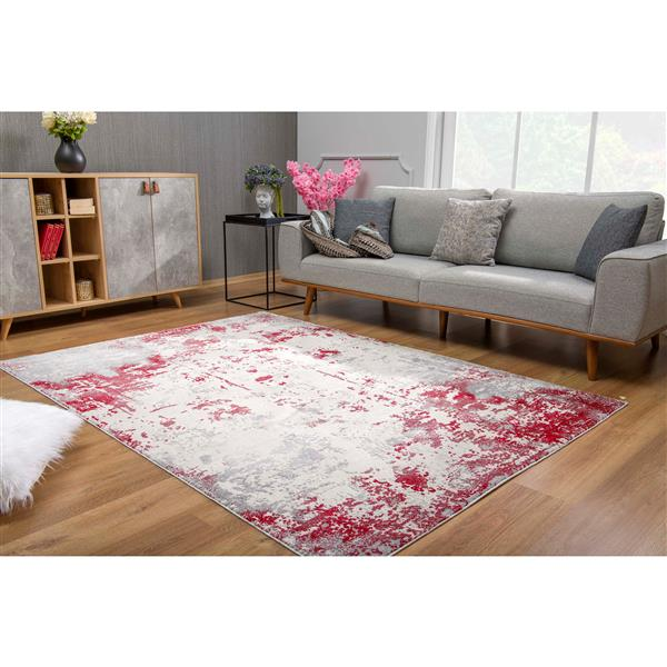 Rug Branch  Vogue Modern Area Rug - 5-ft 3-in x 7-ft 7-in - Red/White