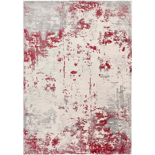 Rug Branch  Vogue Modern Area Rug - 9-ft 2-in x 12-ft 6-in - Red/White