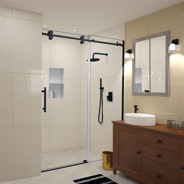 Turin Horizon Shower Door (10 mm) 60-in - Black