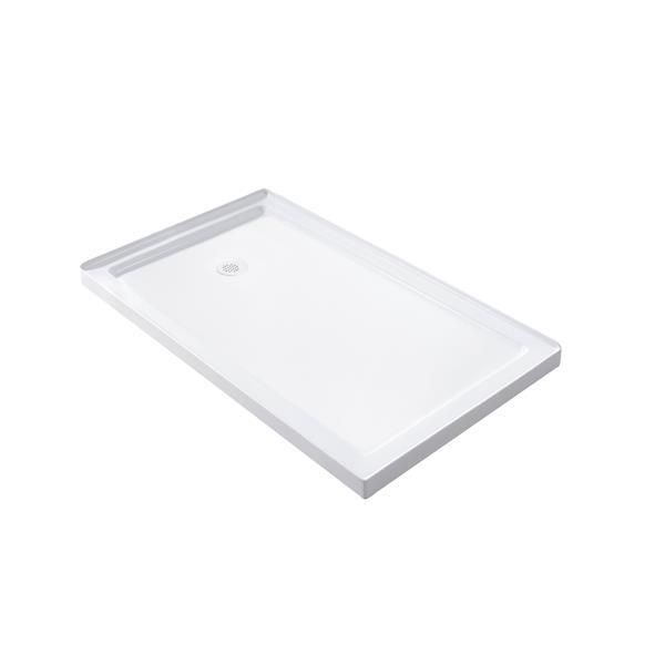 Turin Horizon Shower Base - Left Drain  -White - 32-in x 48-in