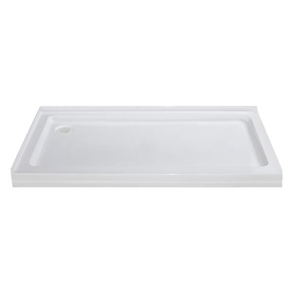 Turin Vertiges Shower Base, Left Drain  -White - 36-in x 60-in