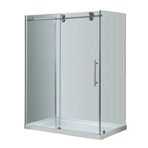 "Turin Porte de douche Vertiges (10 mm) 32"" x 60"" - Nickel"