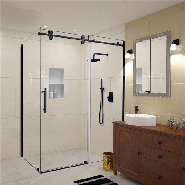 Turin Vertiges Shower Door (10 mm) 32-in x 48-in - Black