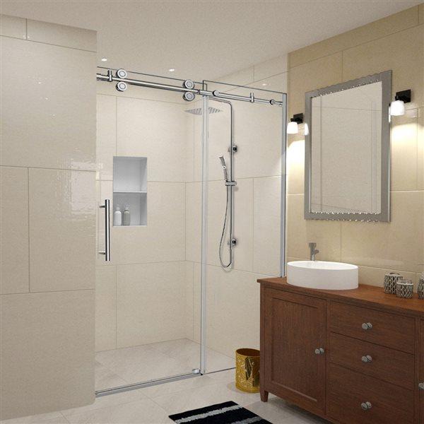 Turin Horizon Shower Door (10 mm) 60-in - Nickel