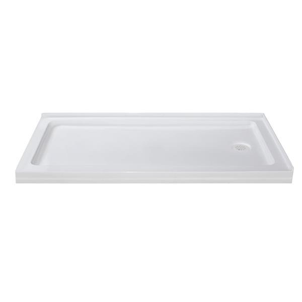 Turin Vertiges Shower Base - Right Drain  -White - 32-in x 60-in