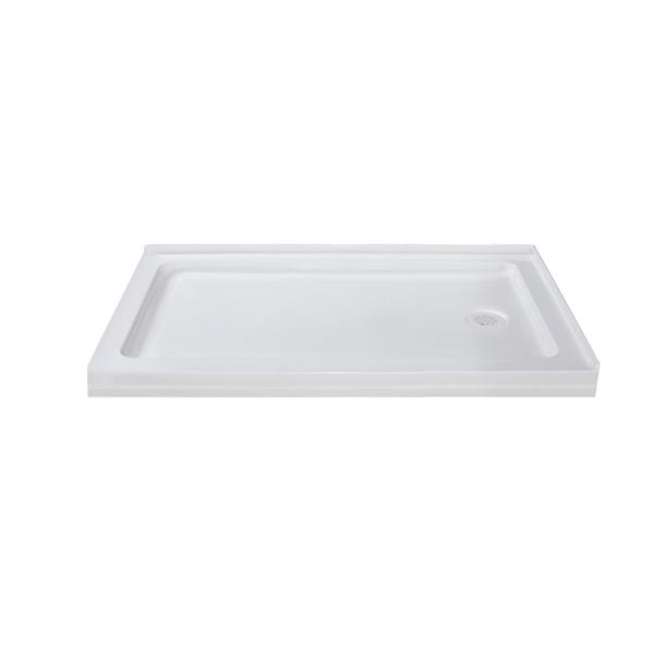 Turin Vertiges Shower Base - Right Drain  -White - 32-in x 48-in