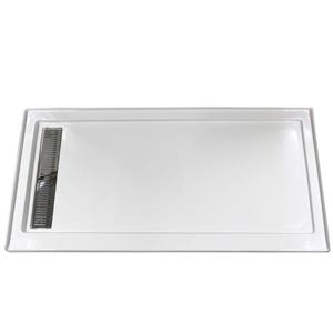 Turin Horizon Shower Base - Left Linear Drain - 35-in x 72-in