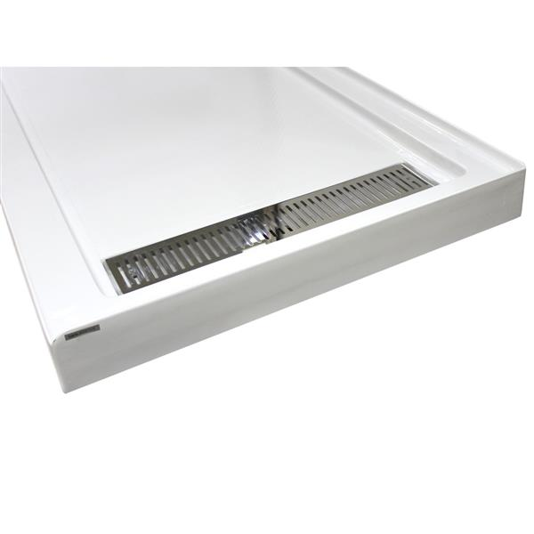 Turin Vertiges Shower Base - Right Linear Drain - 35-in x 72-in