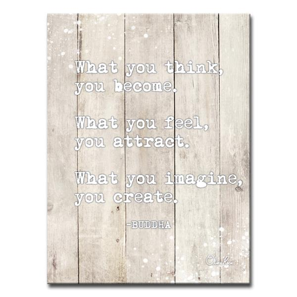 Ready2HangArt Wall Art Buddha Quote Canvas 30-in x 20-in - Off-white