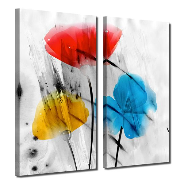 Ready2HangArt Wall Art Abstract Petals - 2-Panel Set 24-in x 24-in - White