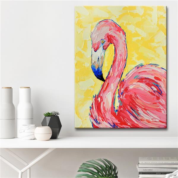 Ready2HangArt Wall Art Flamingo Canvas 30-in x 20-in - Pink