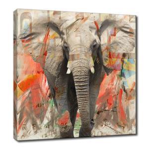 Ready2HangArt Wall Art Elephant Canvas 20-in x 20-in - Gray