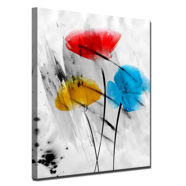 Ready2HangArt Wall Art Abstract Painted Petals Canvas 30-in x 20-in - Gray