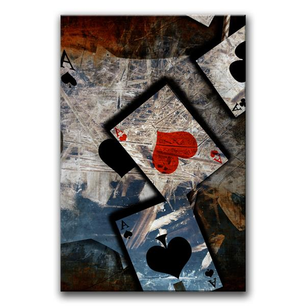 Ready2HangArt Wall Art Poker Game Canvas 24-in x 32-in - White