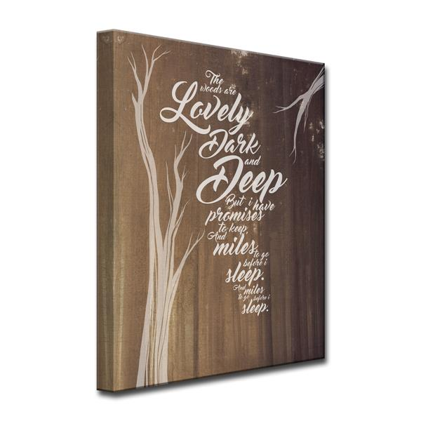 Ready2HangArt Wall Art Robert Frost Quote Canvas 30-in x 20-in - Brown