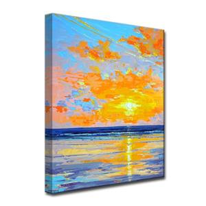 Ready2HangArt Wall Art Sunrise Shore Canvas 30-in x 20-in- Blue and Orange