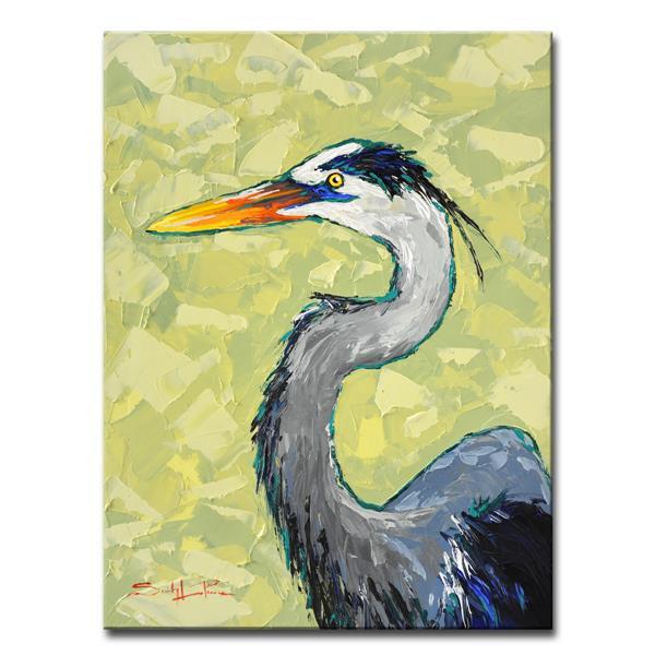 Ready2HangArt Wall Art Blue Heron Canvas 30-in x 20-in - Green