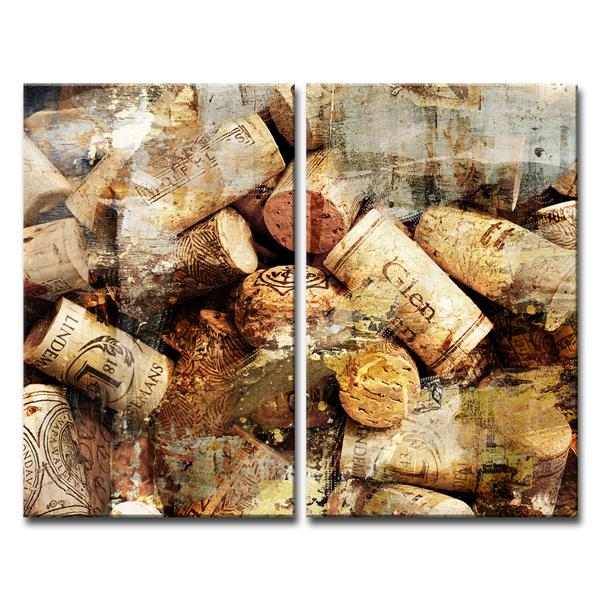 Ready2HangArt Wall Art Abstract Cork Canvas 2-Panel Set - 24-in x 24-in