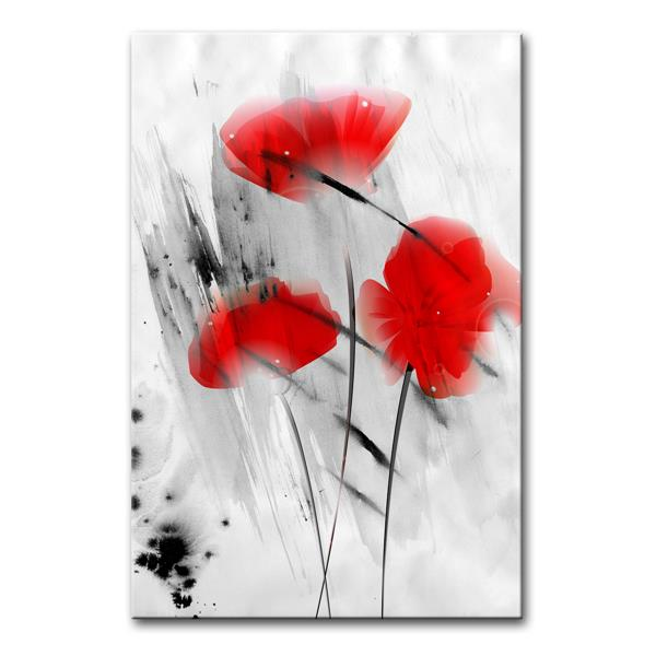 Ready2HangArt Wall Art Abstract Painted Petals Canvas 30-in x 20-in - Red