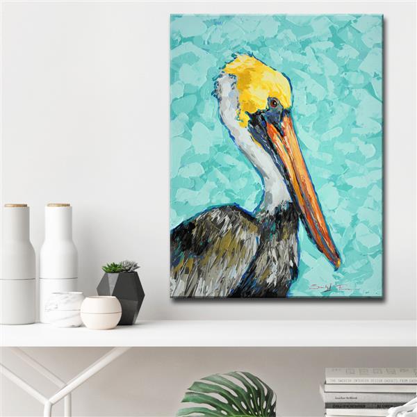 Ready2HangArt Wall Art Pelican Canvas 30-in x 20-in - Blue