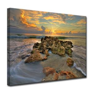 Ready2HangArt Wall Art Spellbound Rock and Sea Canvas 20-in x 30-in- Brown