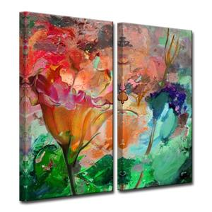 Ready2HangArt Wall Art Abstract Petals Canvas 2-Panel Set - 24-in x 24-in