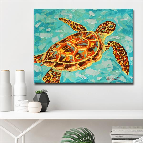 Ready2HangArt Wall Art Turtle Canvas 20-in x 30-in - Blue