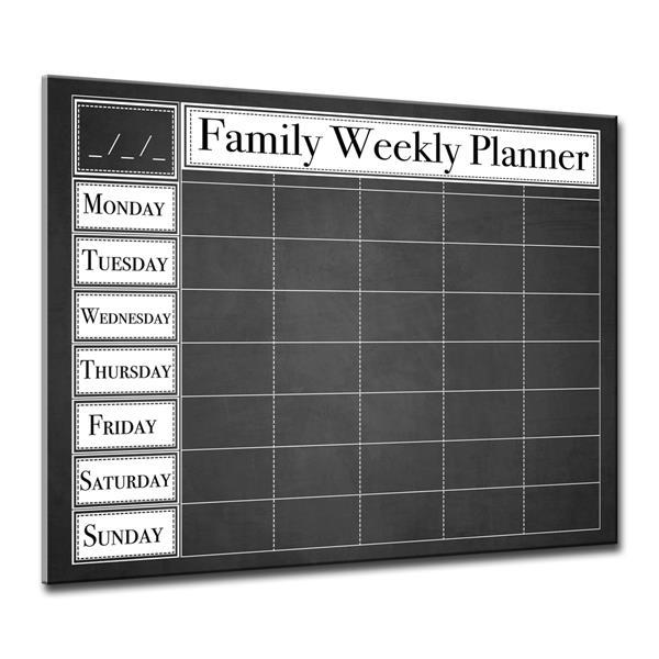 Ready2HangArt Wall Art Dry Erase Family Weekly Calendar 16-in x 20-in - Black