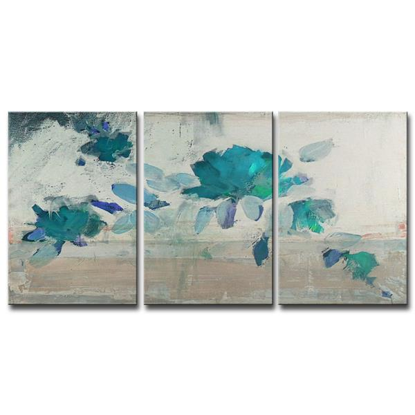 Ready2HangArt Wall Art Abstract Petals Canvas 3-Panel Set 18-in x 36-in
