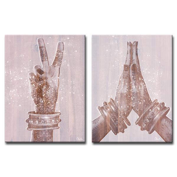 Ready2HangArt Wall Art Peace and Namaste Canvas 2-Panel Set20-in x 32-in