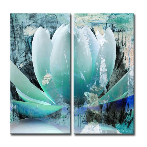 Ready2HangArt Wall Art Abstract Petals Canvas 2-Panel Set 24-in x 24-in