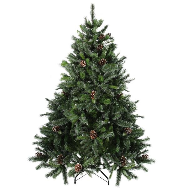 Northlight Snowy Delta Artificial Christmas Tree - Pine with Cones - Unlit - 7' - Green