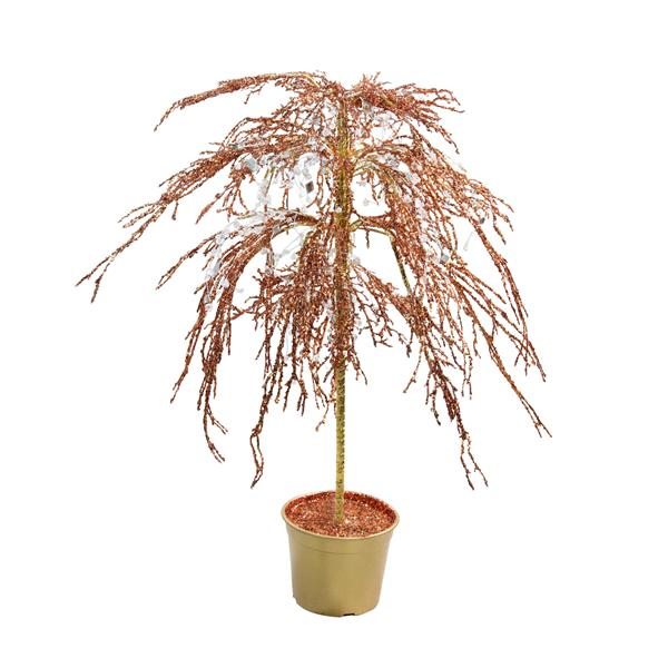 CMI Potted Holiday Artificial Christmas Tree - 3.8' - Unlit - Copper with Cystallized Glitter