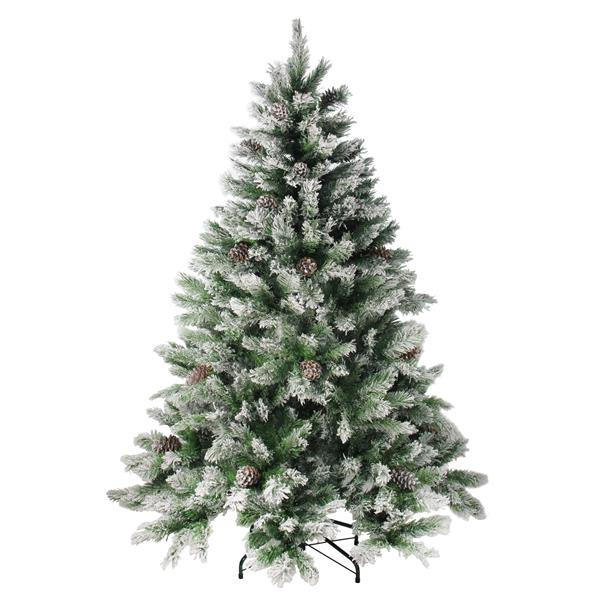 Northlight Flocked Angel Artificial Christmas Tree - Pine with Cones - 7' -  Unlit - Green