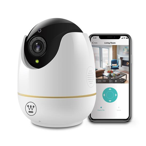 Westinghouse 360 Indoor Wi-Fi Pan and Tilt Security Camera - White - HD1080P - Motion Detection