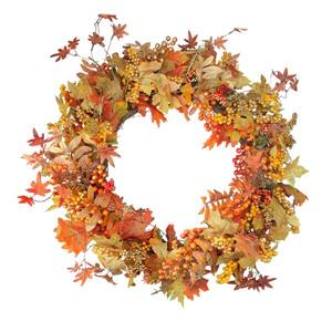 "Northlight Autumn Harvest Leaves with Berries Wreath - 32"" - Red/Orange"