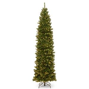 North Valley® Spruce Pencil Slim Christmas Tree with Clear Lights - 9-ft