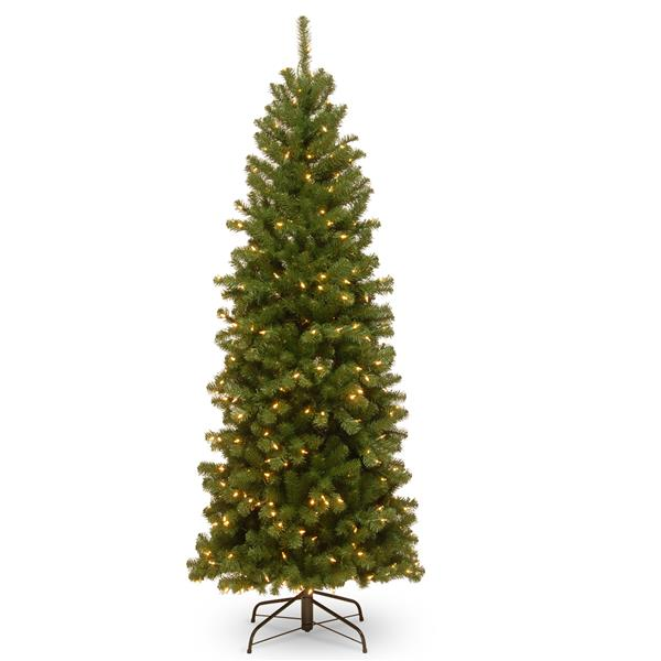 North Valley® Spruce Pencil Christmas Tree/Clear Lights - 6-ft - Green