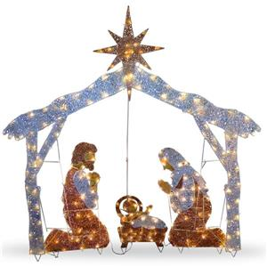 """Crèche de Noël National Tree Co. avec lumières claires, 72"""", multicolore"""