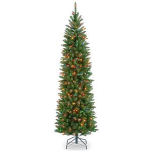 Kingswood® Fir Pencil Christmas Tree with Multicoloured Lights - 6.5-ft
