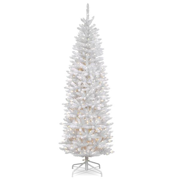 Kingswood® Fir Pencil Christmas Tree with Clear Lights - 7-ft - White